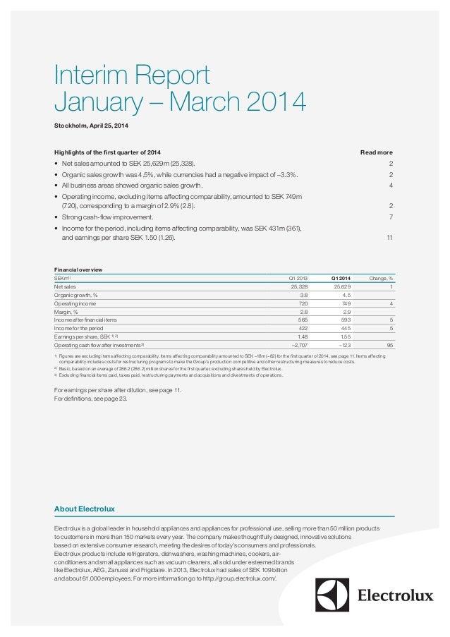Electrolux Interim Report Q1 2014