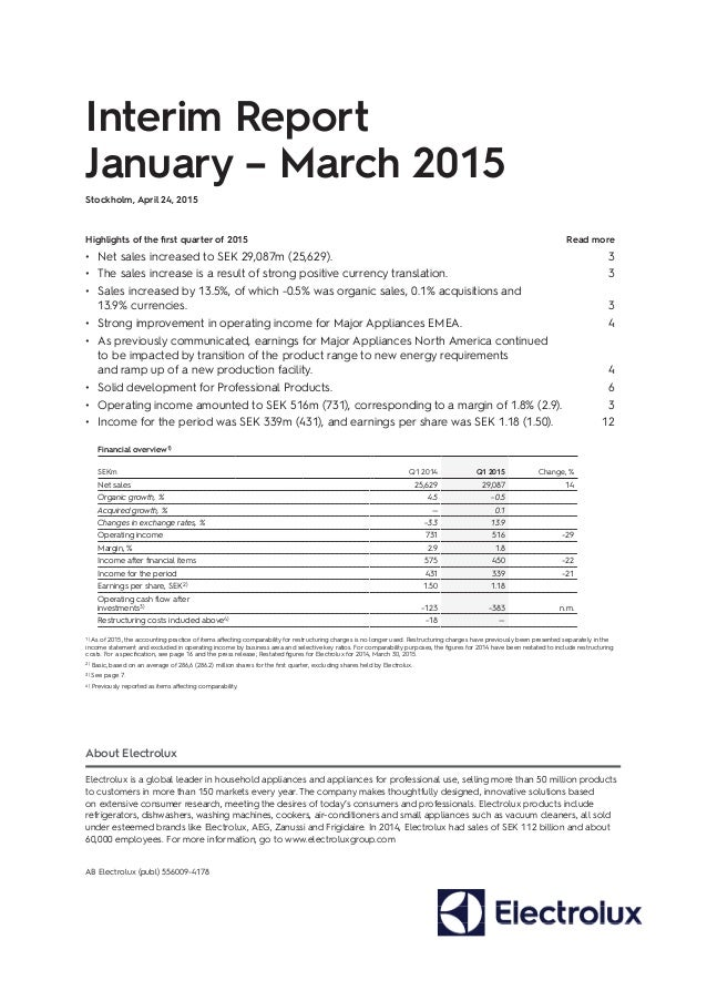 Electrolux Interim Report Q1 2015 Report