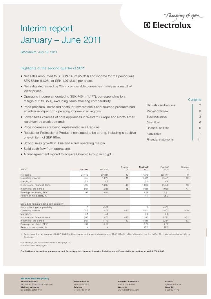 Electrolux Interim Report Q2 2011