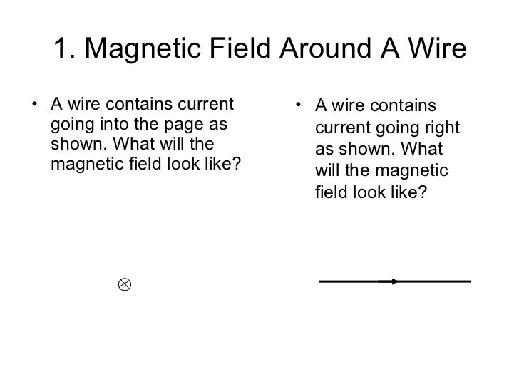 1. Magnetic Field Around A Wire <ul><li>A wire contains current going into the page as shown. What will the magnetic field...