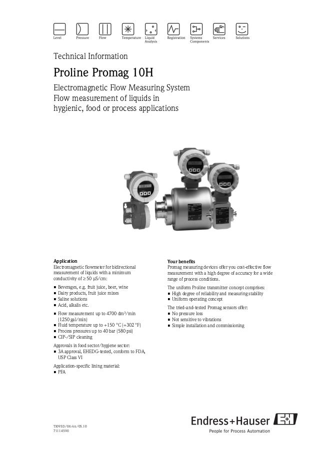 TI095D/06/en/05.1071114590Technical InformationProline Promag 10HElectromagnetic Flow Measuring SystemFlow measurement of ...