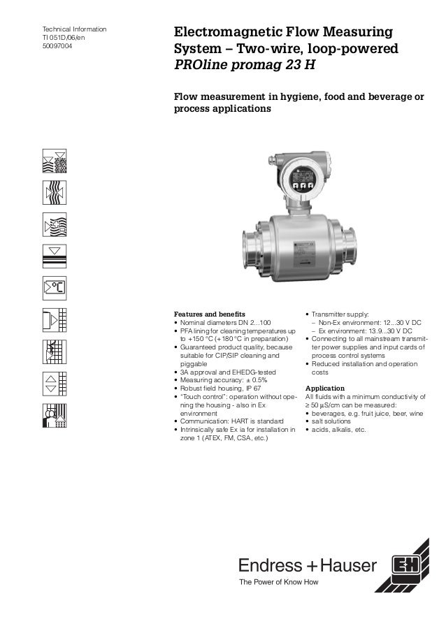 Technical InformationTI 051D/06/en50097004Electromagnetic Flow MeasuringSystem – Two-wire, loop-poweredPROline promag 23 H...