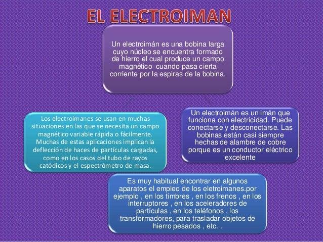 Un electroimán es una bobina larga                           cuyo núcleo se encuentra formado                           de...