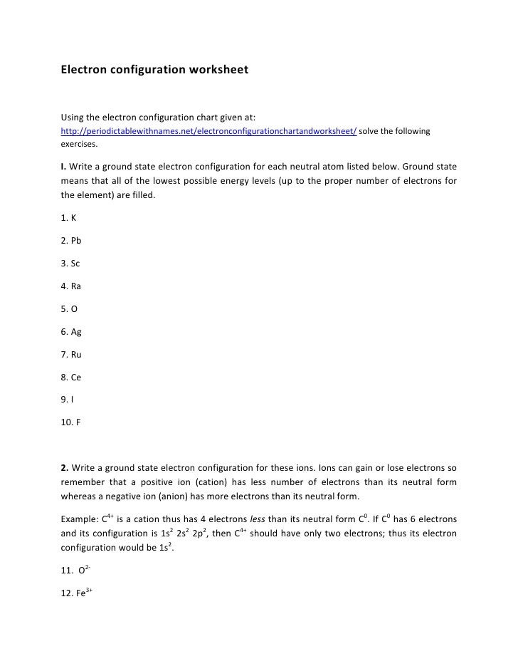 Worksheets Electron Configuration Worksheet electron configuration worksheet worksheetusing the chart given athttpperiodictablewithnames