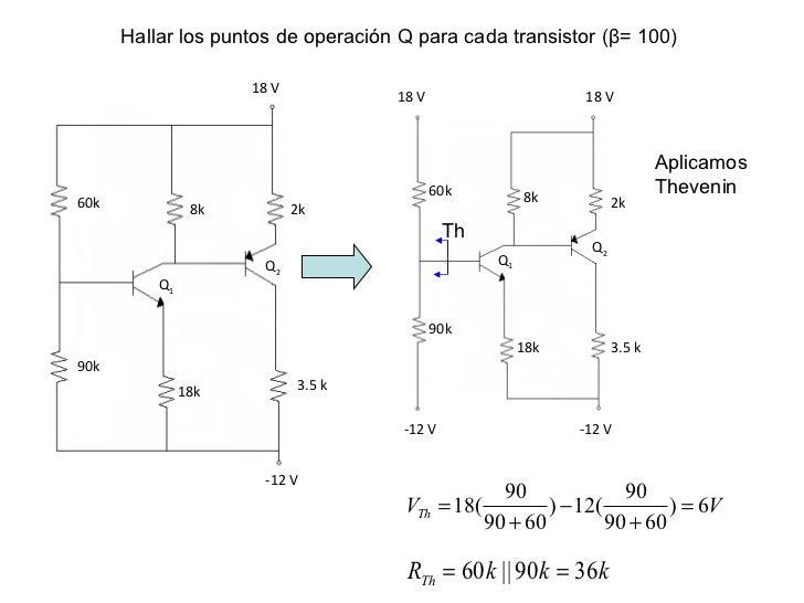 18 V 2k 3.5 k 18k 8k 60k 90k Q 2 Q 1 -12 V 18 V 18 V -12 V -12 V 3.5 k 18k 90k 8k 2k 60k Aplicamos Thevenin Th Q 2 Q 1 Hal...