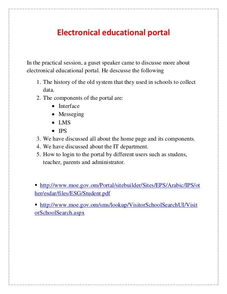 Electronical educational portal