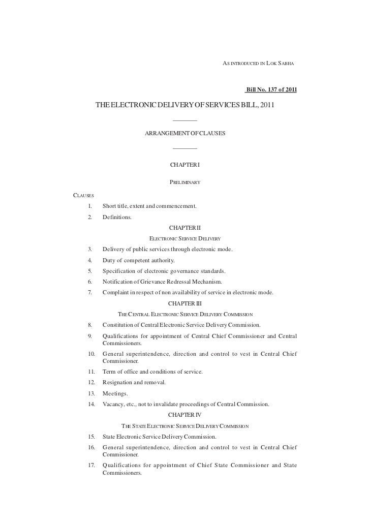Electronic Delivery of services Bill, 2011 as introduced in Lok Sabha