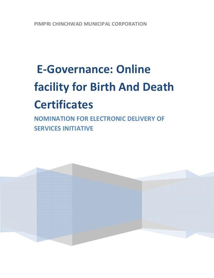 PIMPRICHINCHWADMUNICIPALCORPORATION        E‐Governance:Online    facilityforBirthAndDeath    Certifica...