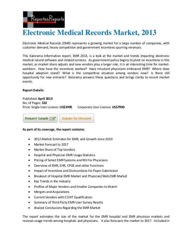 Electronic medical records market, 2013