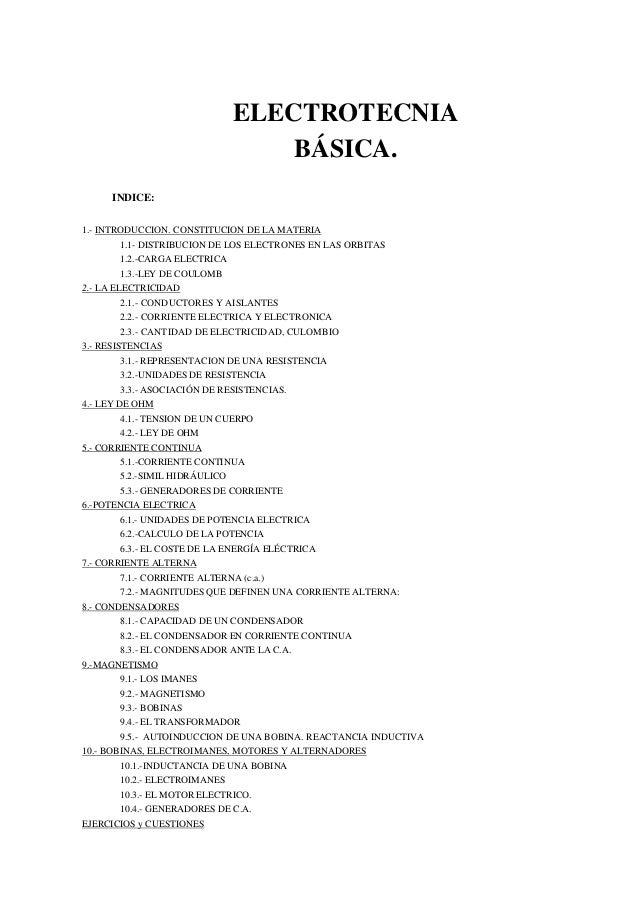 ELECTROTECNIA BÁSICA. INDICE: 1.- INTRODUCCION. CONSTITUCION DE LA MATERIA 1.1- DISTRIBUCION DE LOS ELECTRONES EN LAS ORBI...