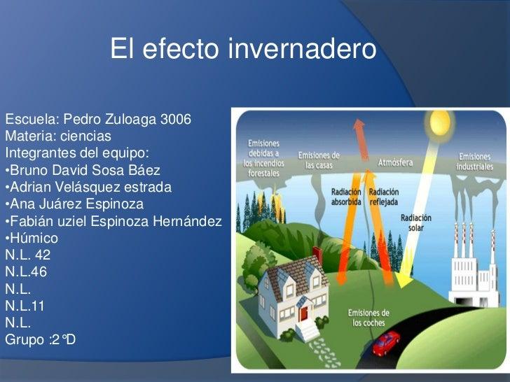 El efecto invernaderoEscuela: Pedro Zuloaga 3006Materia: cienciasIntegrantes del equipo:•Bruno David Sosa Báez•Adrian Velá...