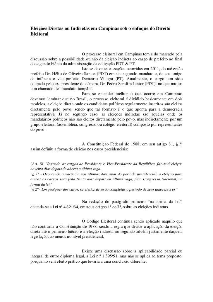 Eleições Diretas ou Indiretas em Campinas sob o enfoque do DireitoEleitoral                              O processo eleito...