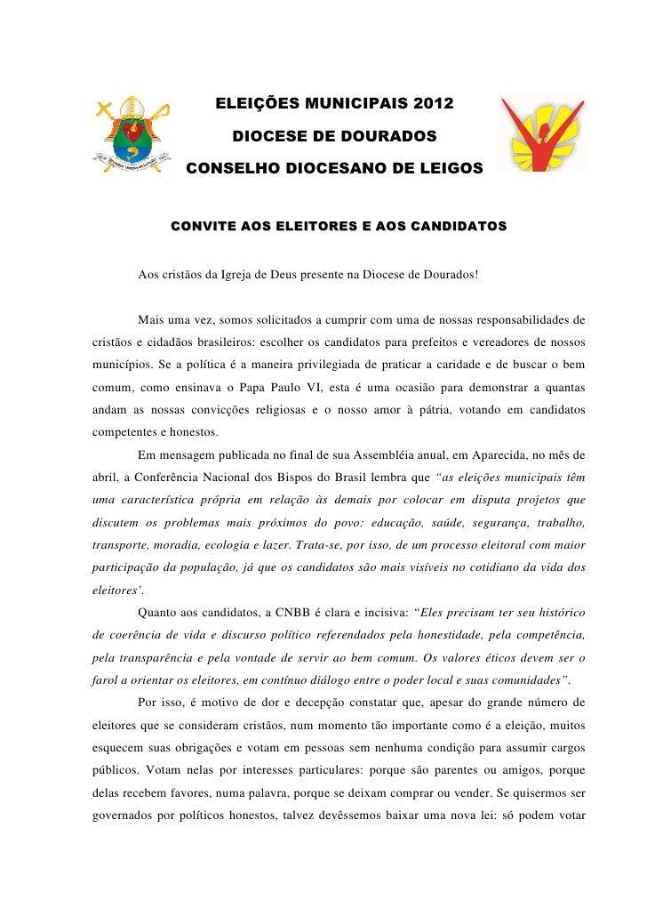 ELEIÇÕES MUNICIPAIS 2012                          DIOCESE DE DOURADOS                 CONSELHO DIOCESANO DE LEIGOS        ...