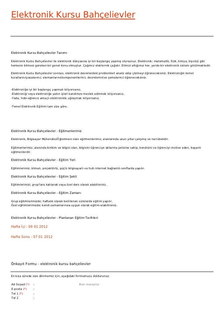 Elektronik Kursu BahçelievlerElektronik Kursu Bahçelievler TanımıElektronik Kursu Bahçelievler ile elektronik dünyasına iy...