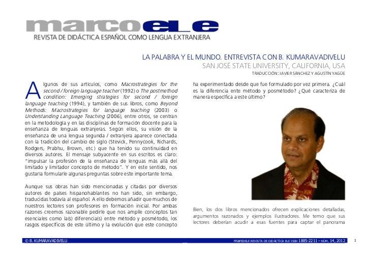 LA PALABRA Y EL MUNDO. ENTREVISTA CON B. KUMARAVADIVELU                                                                   ...
