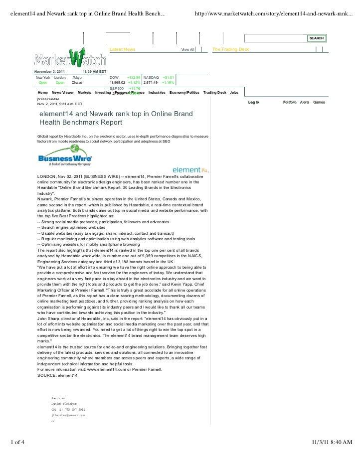 Element14 Tops Online Brand Health Report
