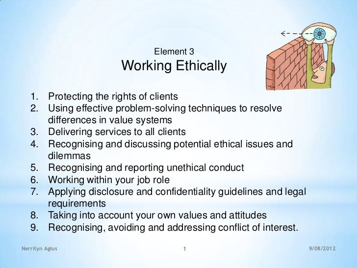 Element 3                       Working Ethically   1. Protecting the rights of clients   2. Using effective problem-solvi...