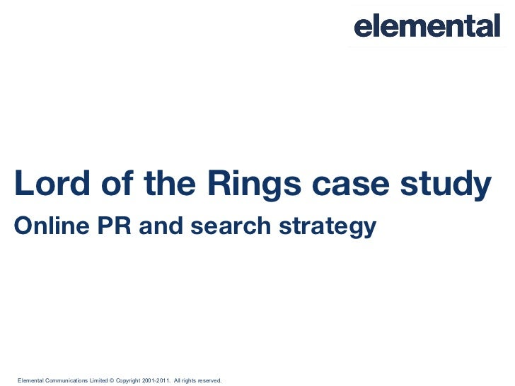 Lord of the Rings case study Online PR and search strategy