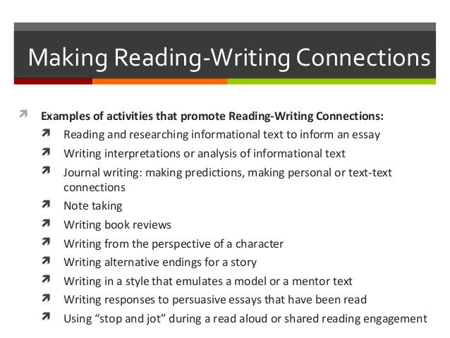 the essay connection readings for writers Close reading the purpose of close reading is to suspend personal judgment and examine a syntax and imagery, then out again to its connections with the whole text as well as other texts organizing your close-reading essay in writing your close-reading essay, you may wish to start by how do the writer's style, imagery and choice of language create a tone or intensify a meaning .