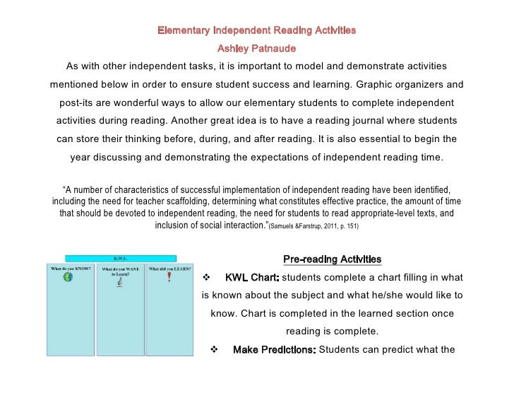 Elementary Independent Reading Activities                                            Ashley Patnaude   As with other indep...