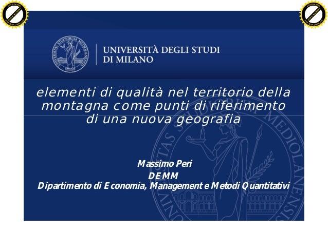 Elementi di qualità nel territorio - Massimo Peri