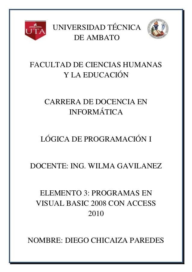 UNIVERSIDAD TÉCNICA         DE AMBATOFACULTAD DE CIENCIAS HUMANAS       Y LA EDUCACIÓN   CARRERA DE DOCENCIA EN        INF...