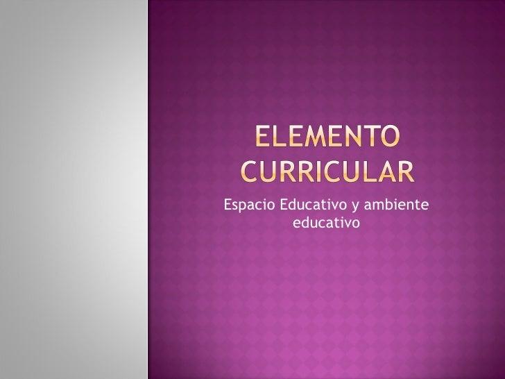 Espacio Educativo y ambiente educativo