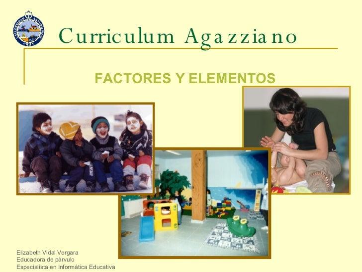 Curriculum Agazziano FACTORES Y ELEMENTOS Elizabeth Vidal Vergara Educadora de párvulo Especialista en Informática Educativa