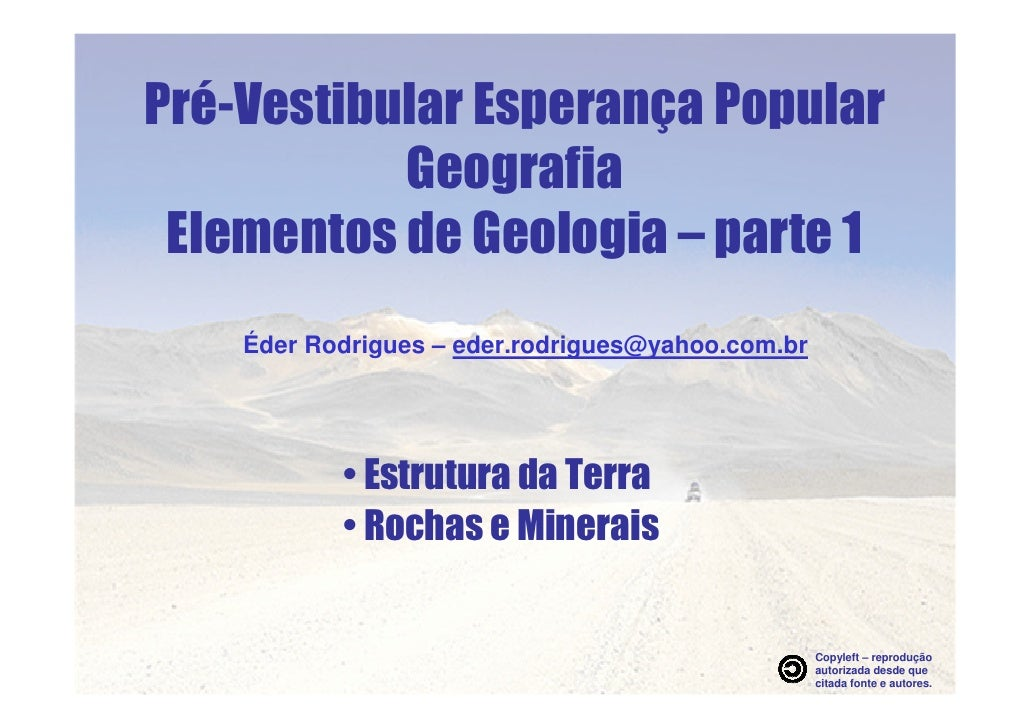 Elementos De Geologia parte 1 - apresentação