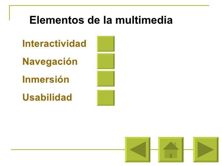 Elementos de la multimedia Interactividad Navegación Inmersión Usabilidad