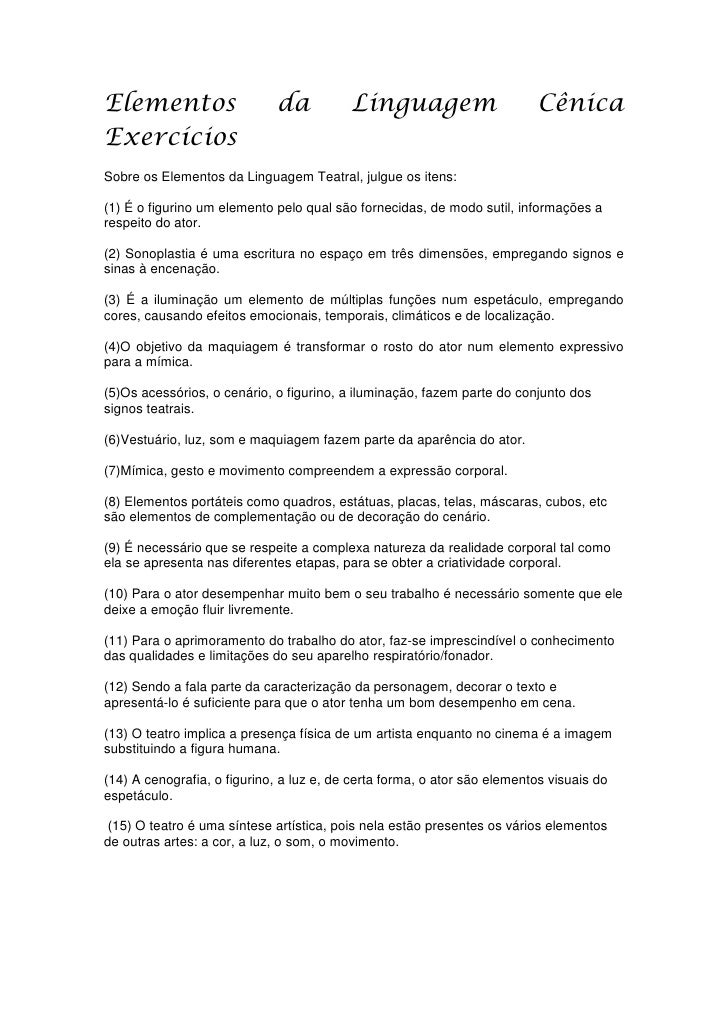 Elementos                    da           Linguagem                       CênicaExercíciosSobre os Elementos da Linguagem ...
