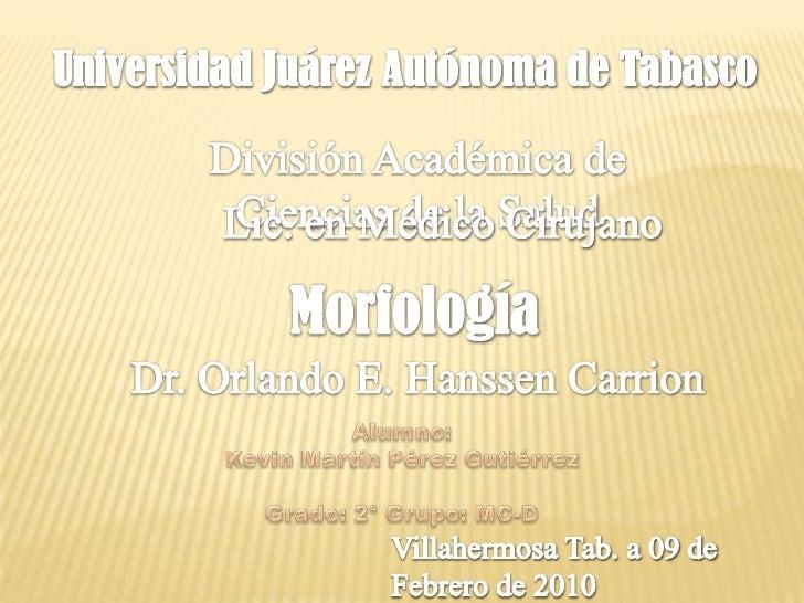 Universidad Juárez Autónoma de Tabasco<br />División Académica de Ciencias de la Salud<br />Lic. en Médico Cirujano<br />M...