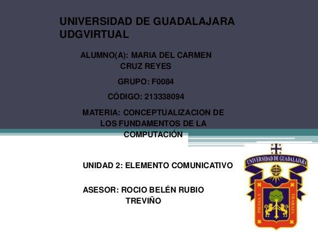 UNIVERSIDAD DE GUADALAJARA UDGVIRTUAL ALUMNO(A): MARIA DEL CARMEN CRUZ REYES GRUPO: F0084 CÓDIGO: 213338094 MATERIA: CONCE...