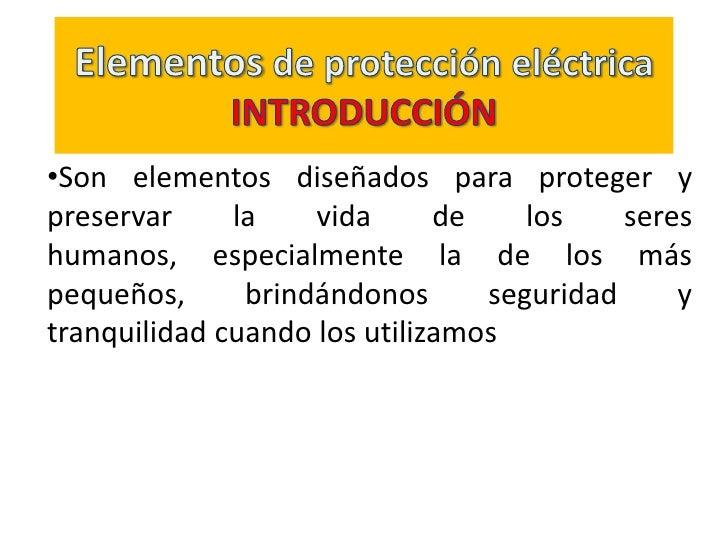 Elementos de protección eléctrica