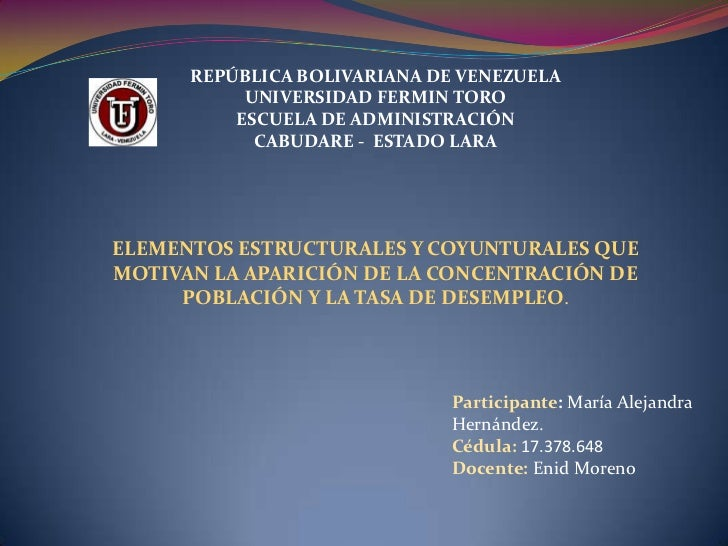 REPÚBLICA BOLIVARIANA DE VENEZUELA           UNIVERSIDAD FERMIN TORO          ESCUELA DE ADMINISTRACIÓN            CABUDAR...