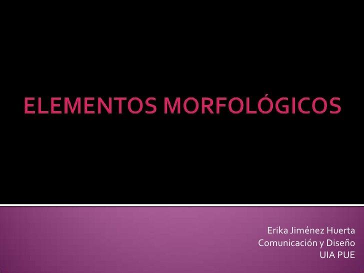 ELEMENTOS MORFOLÓGICOS<br />Erika Jiménez Huerta<br />Comunicación y Diseño <br />UIA PUE<br />