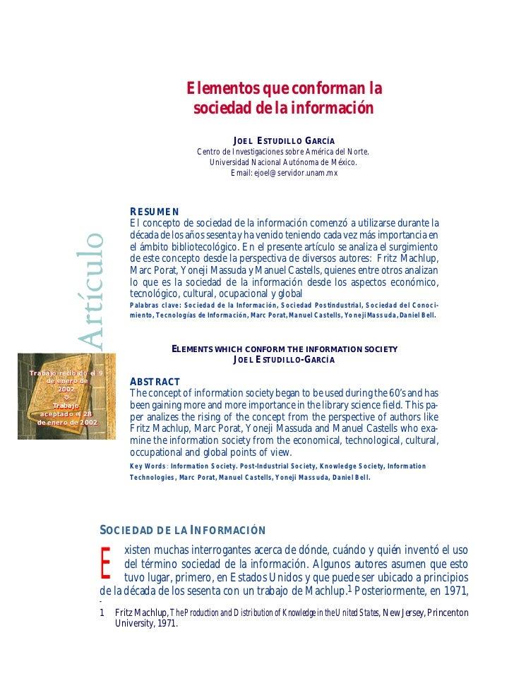 Elementos que conforman la                                                      sociedad de la información                ...
