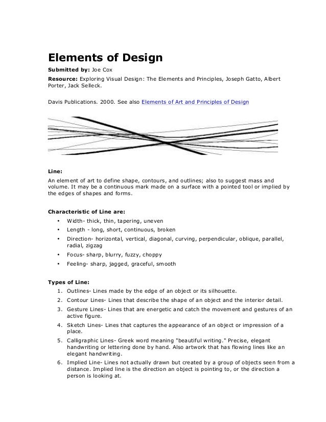 Elements of Design    Submitted by: Joe Cox   Resource: Exploring Visual Design: The Elements and Principles, Joseph...