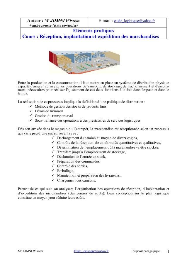 Auteur : Mr JOMNI Wissem  E-mail : etude_logistique@yahoo.fr  + autre source (à me contacter)  Eléments pratiques Cours : ...