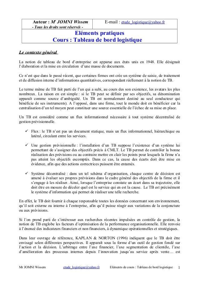 Auteur : Mr JOMNI Wissem  E-mail : etude_logistique@yahoo.fr  - Tous les droits sont réservés -  Eléments pratiques Cours ...