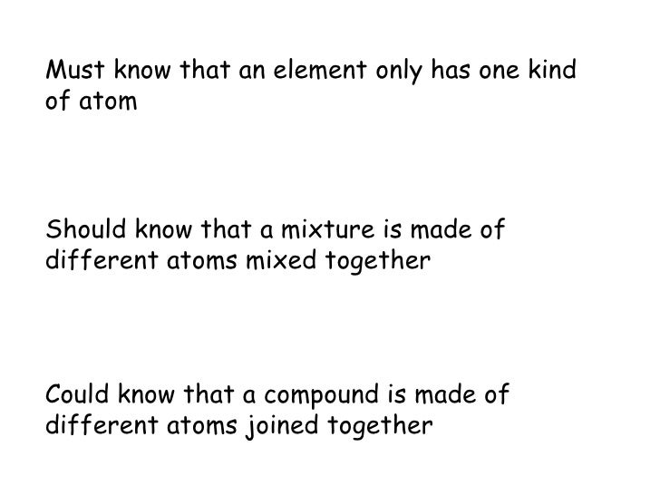 Must know that an element only has one kind of atom Should know that a mixture is made of different atoms mixed together C...