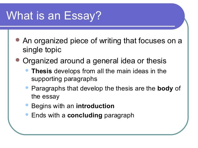 Basic features and elements of an essay