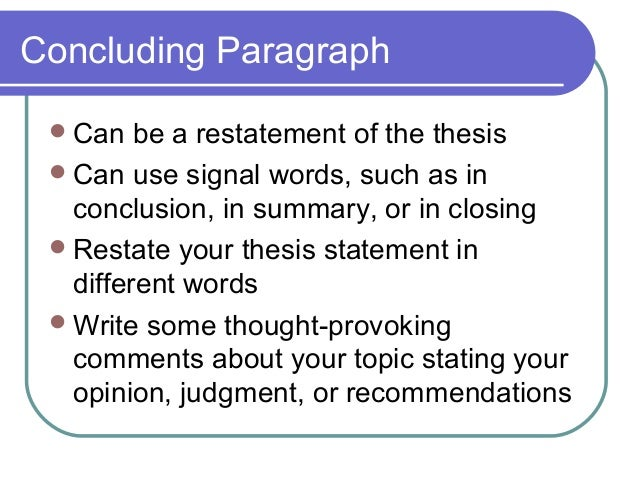 Restating Thesis
