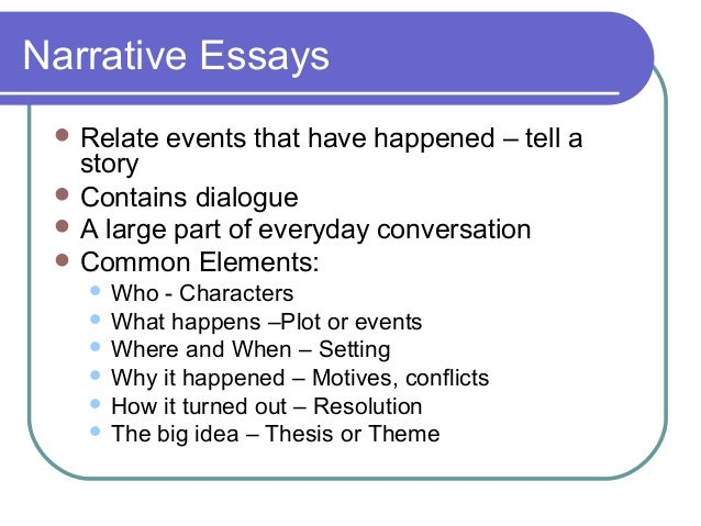 5 parts of a narrative essay