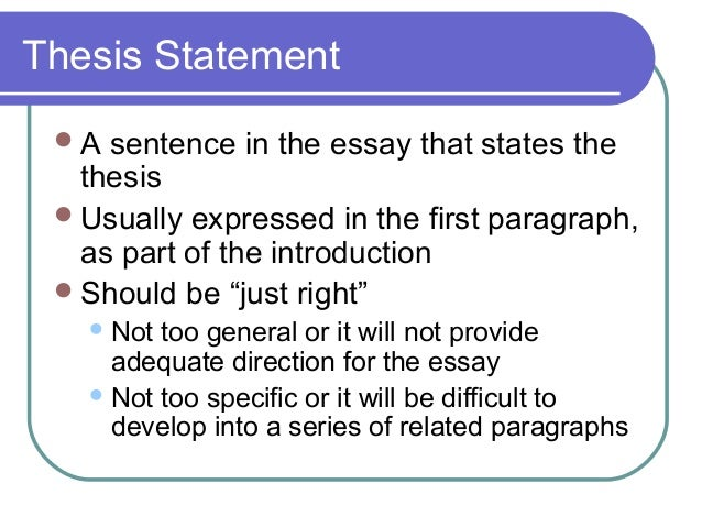 Elements for essay