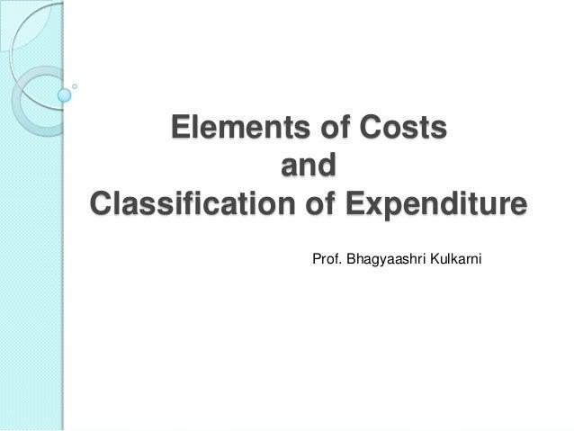 Elements of Costs and Classification of Expenditure Prof. Bhagyaashri Kulkarni