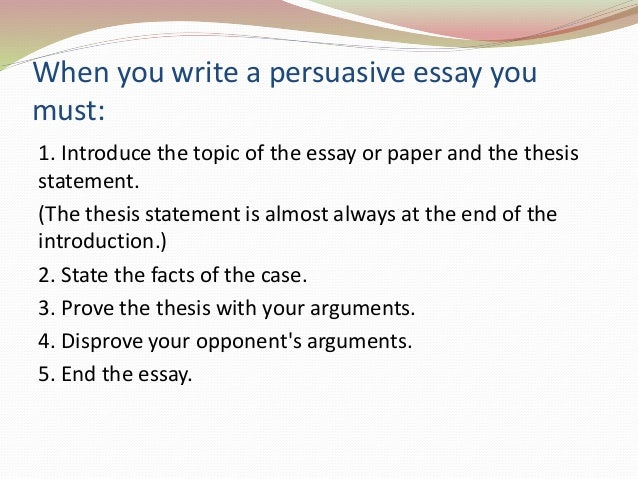 persuasive essay elements necessary effective