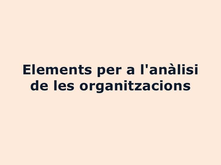 Elements per a lanàlisi de les organitzacions