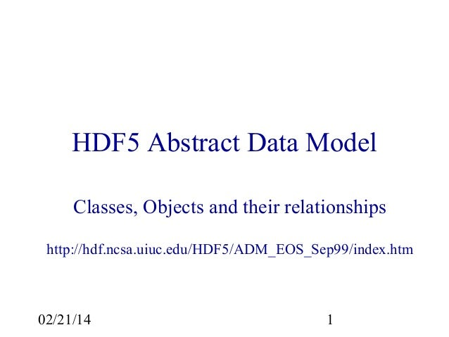 HDF5 Abstract Data Model Classes, Objects and their relationships http://hdf.ncsa.uiuc.edu/HDF5/ADM_EOS_Sep99/index.htm  0...