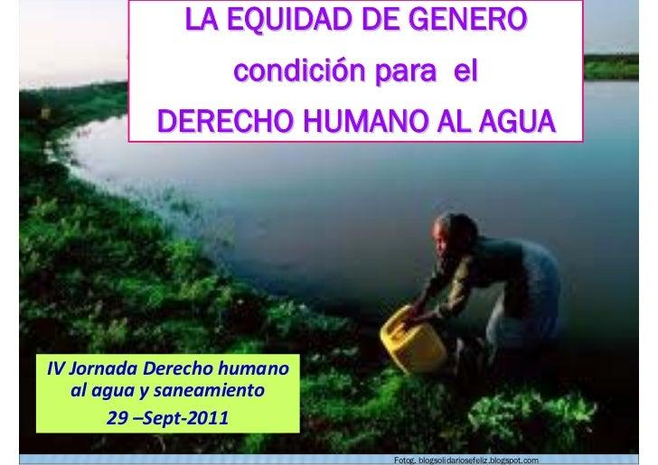 La equidad de género, condición para el derecho humano al agua